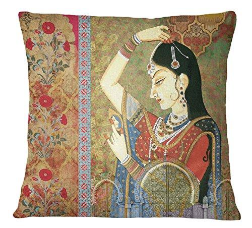 S4Sassy decorativa domestica multicolore Mughal Banithani Stampa cuscino quadrato Cuscino -16 x 16 pollici