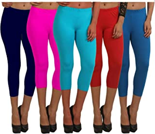Fablab ¾ Capri Pants for Women_Girls_Ladies Cotton (Capri_CLS_190-5-13NbPSbRBl,Free Size,NevyBluePinkSkyblueRedBlue)