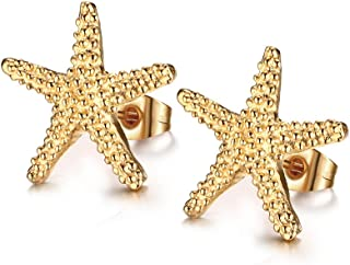 Jewelry Stainless Steel Trendy Starfish Shape Ear Stud Earring for Women,Gold Plated,15mm