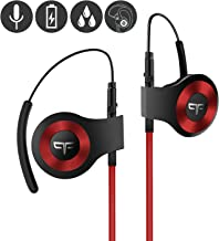Origem HS-3 Bluetooth Headphones, Wireless Sports Earbuds with DSP Audio Algorithm, True Voice Recognition, Rotatable Ear Hook, Graphene Driver, Fast Charging and Built-in Smart Mic (Red)