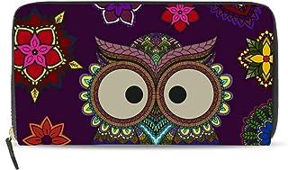 マキク(MAKIKU) 長財布 レディース 革 大容量 フクロウ 花柄 ラウンドファスナー PUレザー コインケース カード12枚収納 プレゼント対応