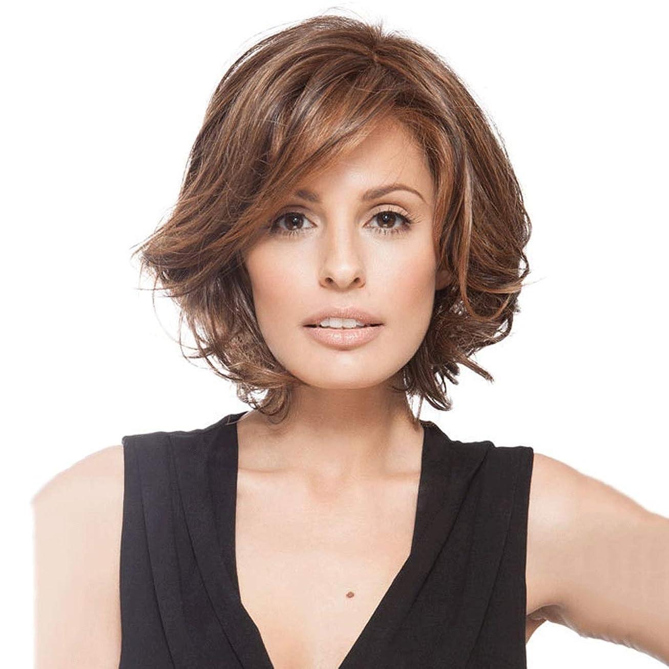 心のこもった証言欠席女性のための茶色の短い巻き毛のかつら、ローズ通気性ヘアネット/Natrualヘアライン/ 150%密度14インチ (色 : Brown)