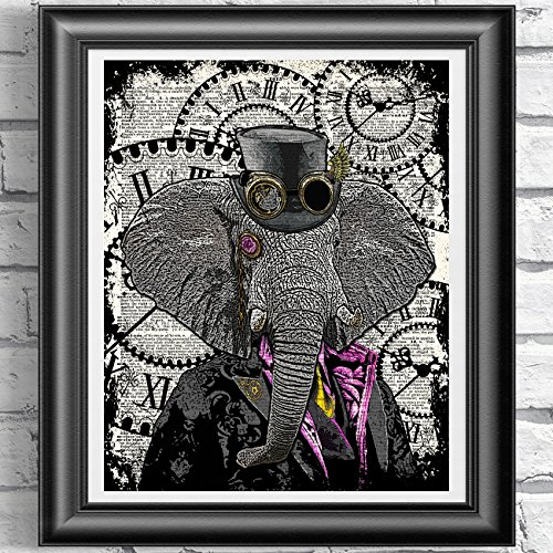 Steampunk Elephant, Poster Print on Antique Dictionary book page, wall decor, Home decor, unique gift, pink flamingo steampunk buy now online