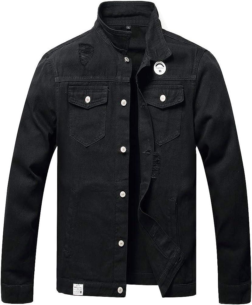 CHUNYEMEN Mens Ripped Jeans Jacket Fashion Slim Denim Jacket for Men