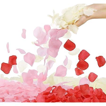 4000 pétalos de rosas artificiales de seda mezclada, pétalos de rosas artificiales falsos para noche romántica, decoración de jarrón de boda, eventos, fiestas