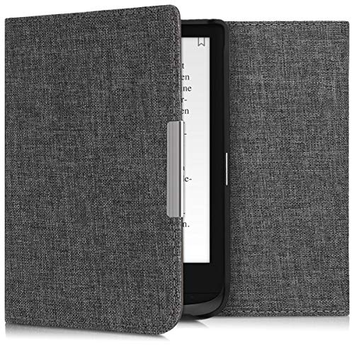 kwmobile Hülle kompatibel mit Pocketbook Touch Lux 4/Basic Lux 2/Touch HD 3 - Stoff eReader Schutzhülle Cover Case - Stoff Grau