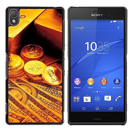 // PHONE CASE GIFT // Duro Estuche protector PC Cáscara Plástico Carcasa Funda Hard Protective Case for Sony Xperia Z3 / Gold Bar Monedas Dinero /