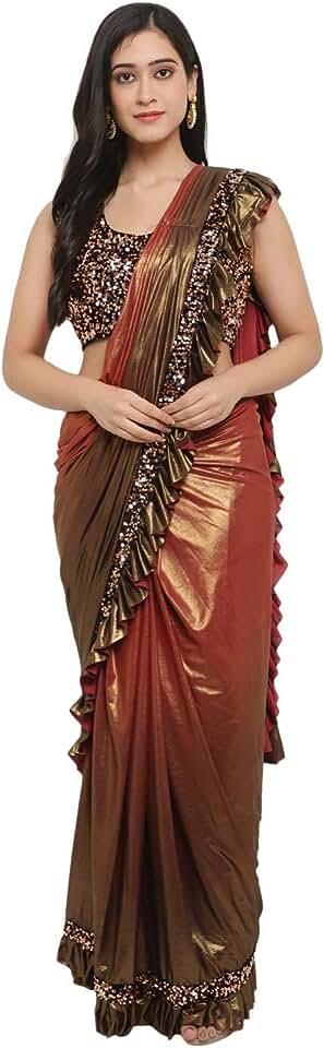 Indian Women's Ikat Lycra Saree With Blouse Piece (VLG016_Red) Saree
