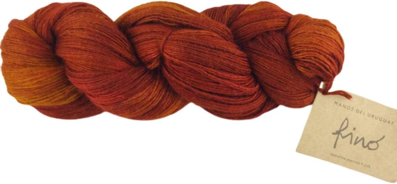 Manos Del Uruguay Japan Maker New Silk Blend Fino - 6362 100gm Hand K Rust OFFer Dyed