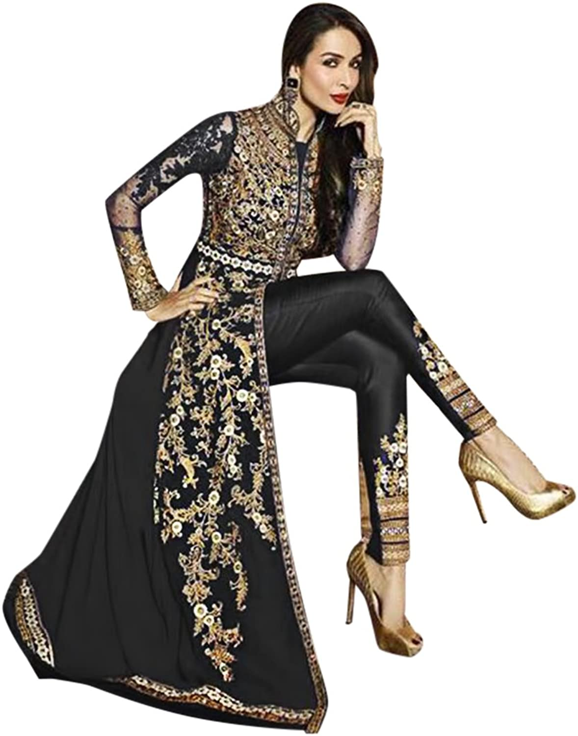 ETHNIC EMPORIUM Malaika Bollywood Party Long Pakistani Kaftan Style Salwar Kameez Muslim Eid Women