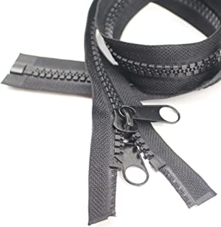 (150cm 2pcs) - YaHoGa 2PCS 10 150cm Separating Large Plastic Zippers Black Tape with Double Pull Tab Slider for Sewing, Sl...