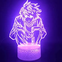 Tatapai 3D Illusion Lamp Led Night Light Anime Death Note L-Lawliet Best Kids Atmosphere Colorful Touch Sensor with Remote...