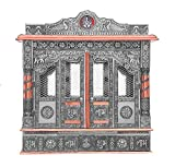 Home Pooja Wooden Mandir with Copper Oxidized Plated Puja Temple - Fully Assembled - 25 Inches with Doors
