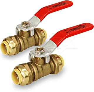 Pushlock UPBV34-2 Full Port fit Ball Valve Water Shut Off Push to Connect PEX,Copper, CPVC, 3/4 Inch, Brass Pack of 2