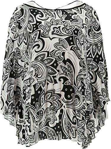 Bob Mackie Paisley Pleated Woven Caftan Top White S New A341830