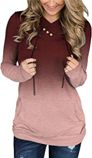 KISSMODA Women's Casual T-Shirt Long Sleeve Button Cowl Neck Tunic Sweatshirt Tops Blouse