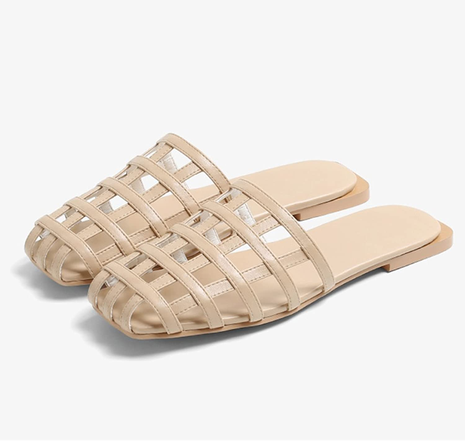 Female wear Pierced Flat European and American Slippers Sandals Out of The Roman British Sandals (color   Beige, Size   39)