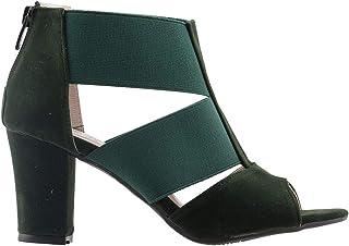 Ayakland 811-50 Günlük 7 Cm Topuk Bayan Süet Sandalet Ayakkabı YEŞİL