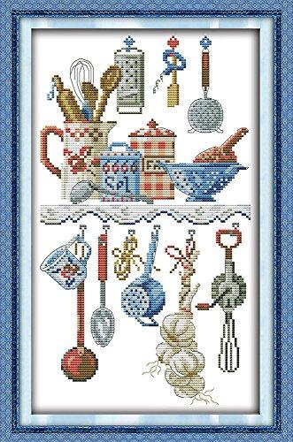 Joy Sunday Kit de punto de cruz con sello de gama completa de kits de bordado para principiantes, DIY 11CT, 3 hebras, utensilios de cocina de 11,4 x 18,9 cm