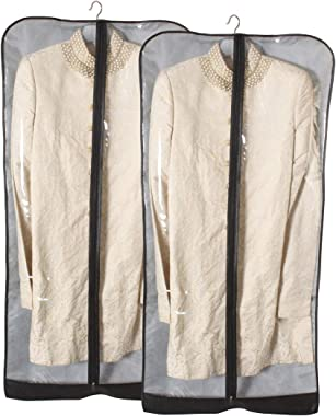 PrettyKrafts Sherwani Cover, Long Coat Cover - Grey, Set of 2 pcs (F1578_SherCvr_Grey_2), Large