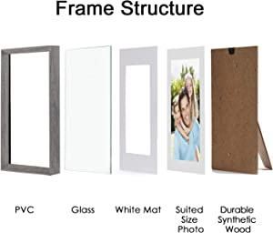 Sindcom 8x10 Picture Frame with Mat and High Definition Glass Front, Rustic Photo Frames for Wall or Tabletop Display,Set of 3,Light Grey