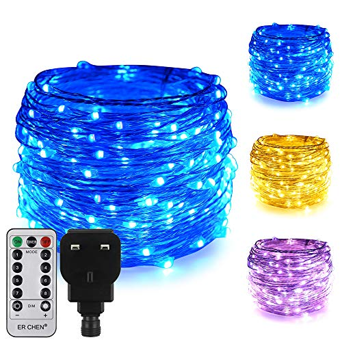 ErChen Dual-Color LED String Lights, 66 FT 200 LEDs Plug in Silver Copper Wire 8 Modes Dimmable Fairy Lights with Remote Timer for Indoor Outdoor Christmas (Blue/Warm White)