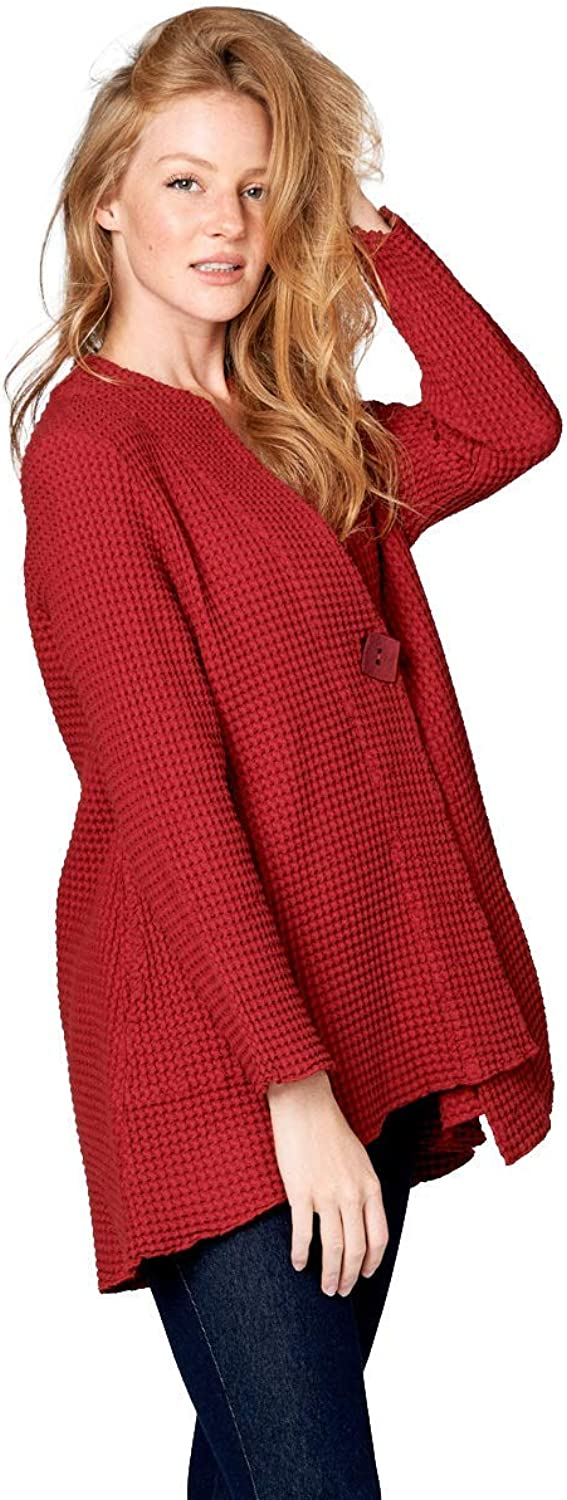 Fashion Focus Cotton Waffle Relaxed Fit Cardigan