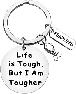 Cancer Awareness Keychain Cancer Survivor Gift Cancer Fighter Gift Life is Tough But I am Tougher Keychain Cancer Awareness Inspirational Gift Recovery Jewelry for Her Him