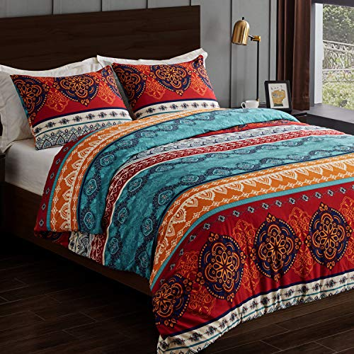 Boho Mandala Bohemian Chic 3 pc. Full Queen Size Bed Bedding Set Duvet Comforter Cover and Sham Red Teal Blue Orange Indian Hipster Hippie Patterned Retro Tapestry Turquoise Ethnic Vintage Colorful