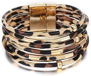 CEALXHENY Wide Cuff Bracelets for Women Leopard Bangle Bracelets Snakeskin Leather Wrap Cuff Bracelets for Girls
