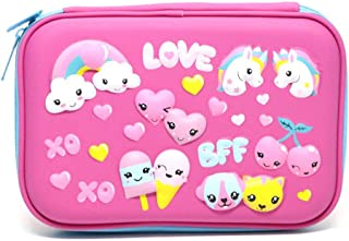 Unicorn Embossed Pencil Case, Sportsvoutdoors Large Hard Top Pencil Box with Compartments, Cute Pen Holder Cosmetic Pouch Bag School Stationery Supply for Kid Children Girls Student (Unicorn Love)