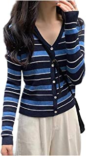 Comaba Women's V-Neck Strip Slim Fit Knitted Shirt Contrast Button Tees