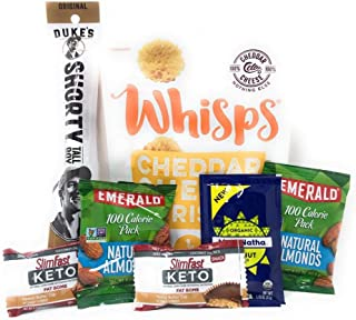 Keto Snack Attack | Low Carb Snacks | Slimfast Keto Peanut Butter Cup Fat Bomb, Cheddar Cheese Crisps, Organic Peanut Butter, Emerald Natural Almonds, Duke's Original Jerky | Pack of 7 Healthy Snacks