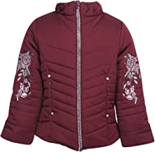 Cutecumber Girls Quilted Polyester Embroidered Maroon Winter Jacket.4464J-MAROON