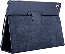 iPad Air/Air2/Pro Case, FANSONG Bifold Series Litchi Stria Ultra Thin Magnetic PU Leather Smart Cover [Flip Stand,Sleep Function] for Apple iPad Pro/iPad 2017 / iPad 2018(9.7 inch),Navy