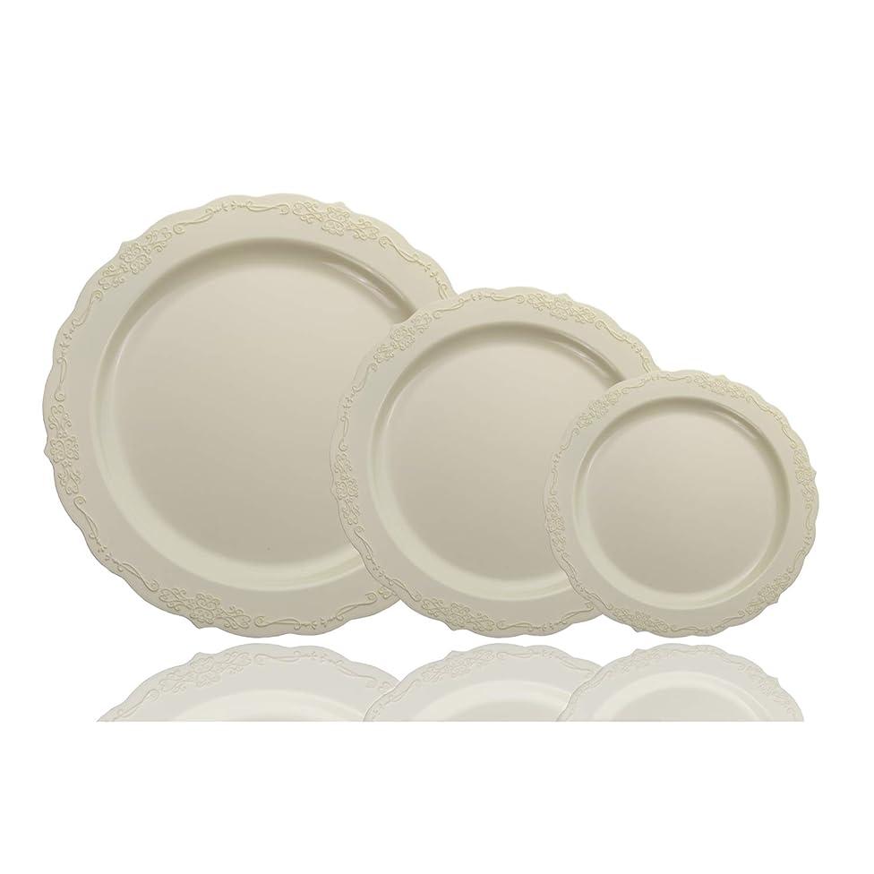 60 Pcs Disposable Plastic Plates | Victorian Design Premium Disposable Plates | 9 inch. Cream China Like Plastic Plates For Parties & Weddings
