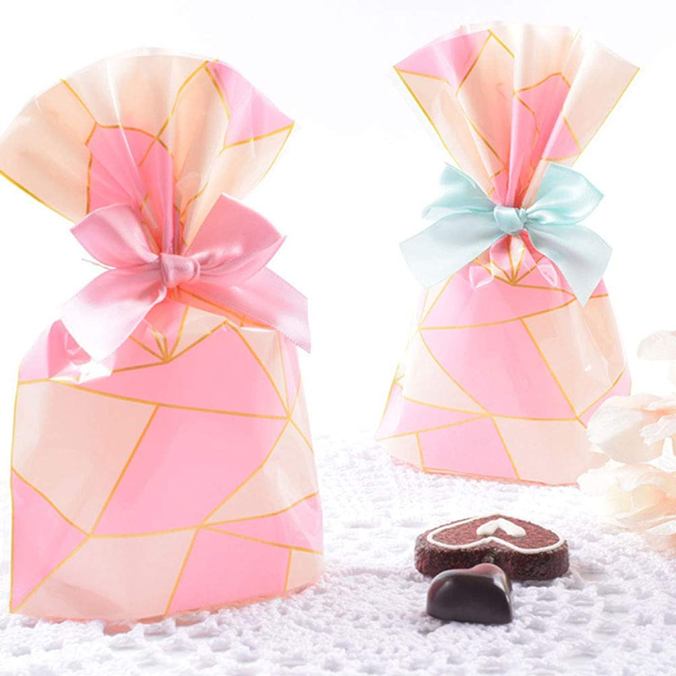 NIQU Pink Cello Candy cellophane Treat Favor Bags,Pack of 50