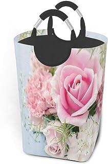 Panier à linge Roses Fleurs roses Grand sac de panier à linge sale pliable Grand paniers de rangement en tissu Rectangle P...