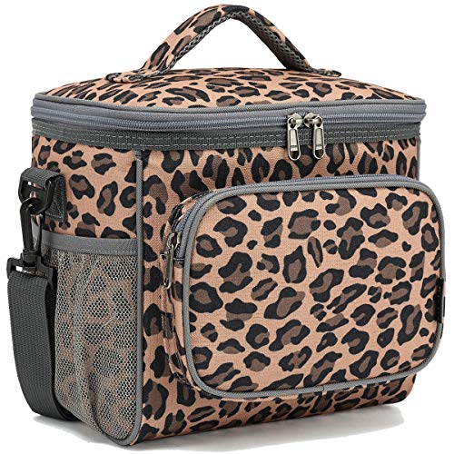 FlowFly insulated Reusable Lunch Bag Adult Large Lunch Box for Women and Men with Adjustable Shoulder Strap,Front Zipper Pocket and Dual Large Mesh Side Pockets, Leopard