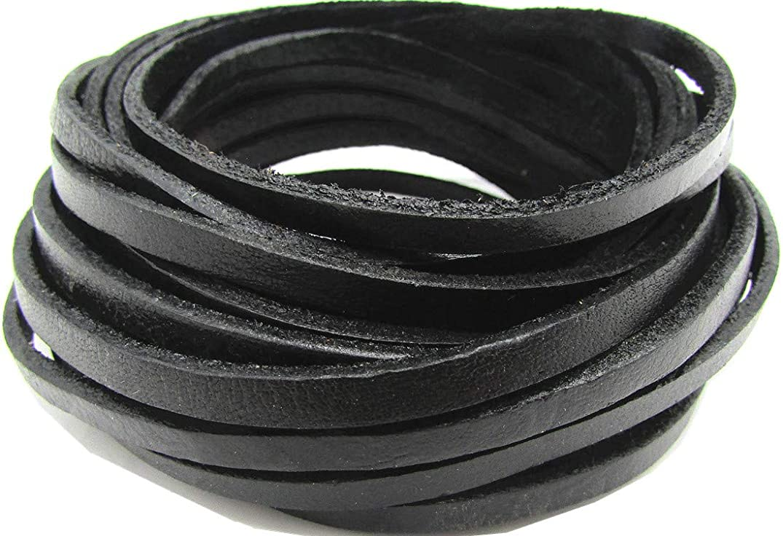 5.0mm Flat Genuine Leather Strip Cord DIY Rope Strings for Bracelet Necklace Jewelry Making 5 Meters (Black)