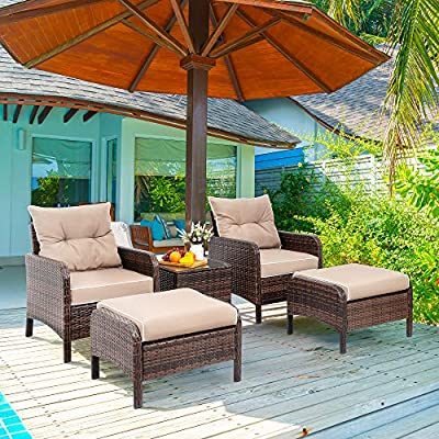 Viogarden 5 Piece Wicker Patio Furniture Set, PE Wicker Rattan Small Patio Set Porch Furniture, Cushioned Patio Chair Set of 2 w/Ottoman & Glass Table, Outdoor Chat Set Conversation Set, Coffee Brown