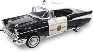 Road Signature 1957 Chevy Bel Air Police, Black - Lucky 92107 1/18 Scale Diecast Model Toy Car