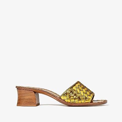 Bottega Veneta Intrecciato Heeled Sandal (Golden Brown) High Heels