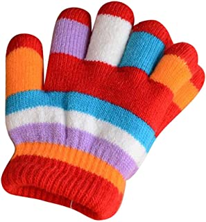 Winter Warm Mittens for Kids, Colorful Five-Finger Gloves(2-6 Years Old), E04
