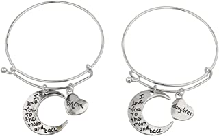 Lux Accessories Mom Daughter I Love You to Moon n Back Bangle Set 2PC