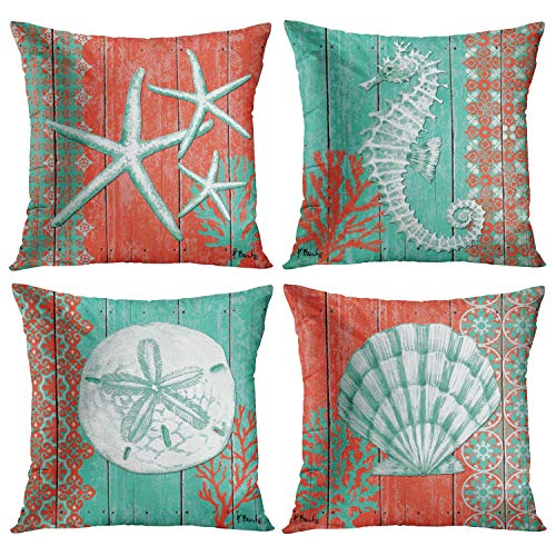 Emvency Set of 4 Throw Pillow Covers Summer Green Ocean Theme Wood Grain Nautical Coastal Starfish Shell Coral Hippocampus Decorative Pillow Cases Home Decor Square 18x18 Inches Pillowcases
