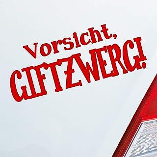 Auto Aufkleber in deiner Wunschfarbe Vorsicht Giftzwerg Zwerg Gift LKW OEM JDM 15x6 cm Autoaufkleber Sticker Folie