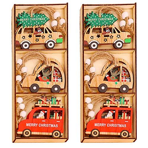 Natale Ciondolo in Legno BESTZY 18 pezzi Pendenti Legno Natalizi Addobbi Albero di Natale Decorativi per Fai da Te Albero di Natale