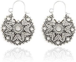 Earrings for Women - Vintage Bohemian Openwork Round Six Leaf Flower Basket Metal Ladies Earrings,Dangle Jewelry