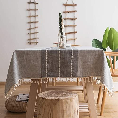 """Oubonun Gray Tablecloth (55""""x70"""") Embroidered Stitched with Fringe Tassels Rectangle Cotton Linen Fabric Stripe Table..."""